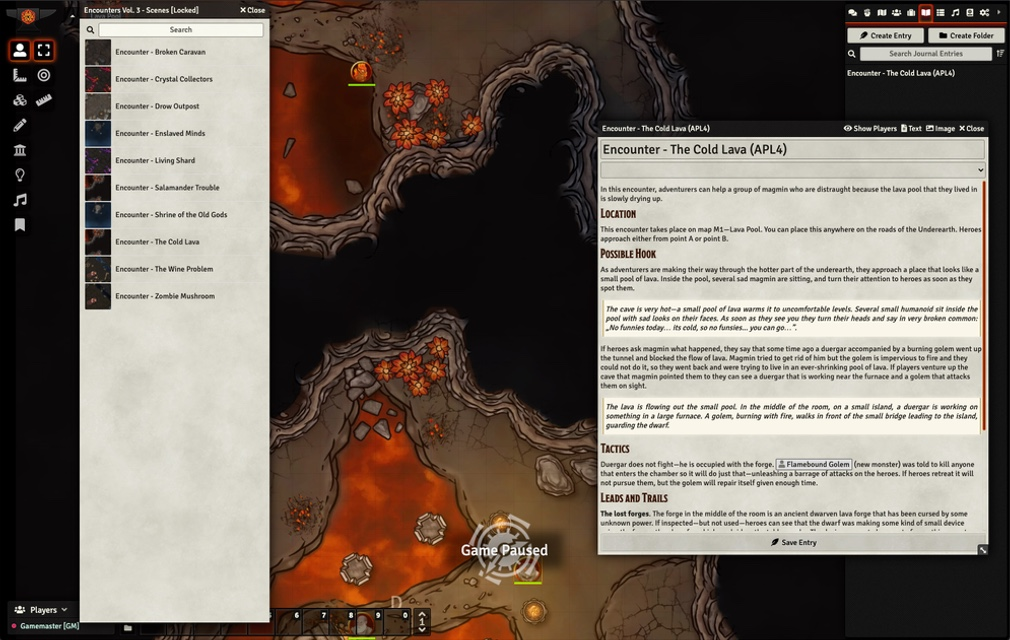 A screenshot depicting a cavern scene with an open Journal entry