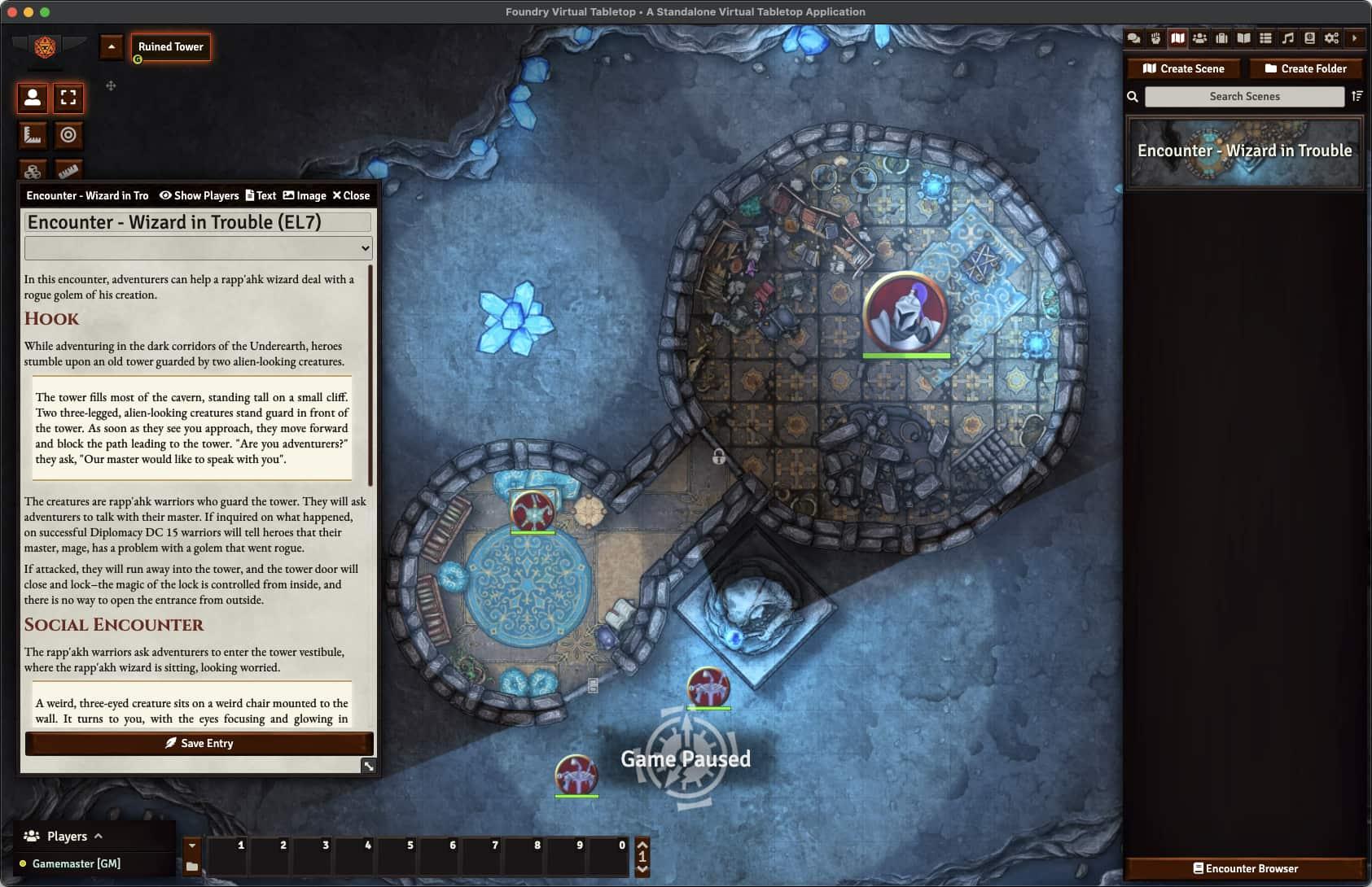 A screenshot depicting a cavern scene with an open NPC Character sheet